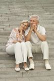 Attractive elderly couple went for a walk Stock Photo