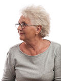 Attractive elderly woman smiling portrait isolated Stock Photography