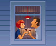 Attractive elegant couple drinking wine. Beautiful man and woman talking near window. Sweet couple at the apartment window. View from outside window Stock Photo