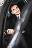 Attractive elegant happy man drive good car royalty free stock photos