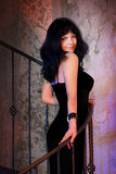Attractive elegant woman in black dress. Brunette Stock Image