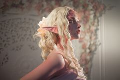Attractive elf portrait on light background. Fantasy and fairy tale, computer games. Stock Images