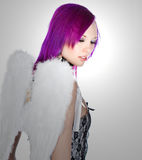 Attractive Emo Girl with Angel Wings Royalty Free Stock Photos