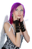 Attractive Emo Girl with Angel Wings stock photography