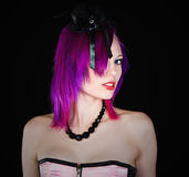 Attractive Emo Girl in Pink Corset Looking at Came Stock Photo