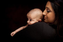 Attractive Ethnic Woman with Her Newborn Baby Royalty Free Stock Photography