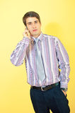 Attractive european businessman with a cellphone Stock Image