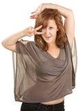 Attractive European Woman Dancing Stock Photo