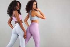 Two fitness women in sportswear isolated over gray background. Sport and fashion concept with copy space. Royalty Free Stock Photos