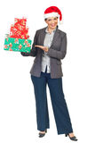 Attractive executive woman with presents Royalty Free Stock Images