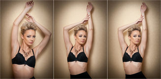 Attractive fair hair model with pantyhose and black bra posing provocatively. Fashion portrait of sensual short hair blonde Stock Images