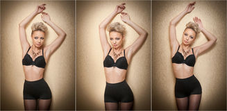 Attractive fair hair model with pantyhose and black bra posing provocatively. Fashion portrait of sensual short hair blonde Stock Photos