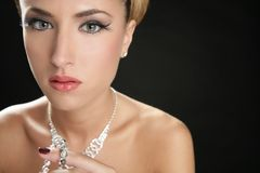 Attractive fashion elegant woman jewelry. Attractive fashion elegant woman portrait with jewelry Royalty Free Stock Photography