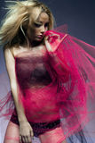 Attractive fashion model with long blond hair. Royalty Free Stock Image