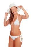 Attractive fashion woman with bikini and pamela Stock Photos