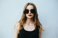 Attractive fashion woman in black dress Royalty Free Stock Photos