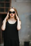 Attractive fashion woman in black dress Royalty Free Stock Image