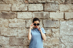 Attractive fashion woman in blue dress Royalty Free Stock Image
