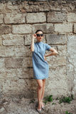 Attractive fashion woman in blue dress Royalty Free Stock Photography