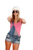 Attractive fashion woman with sunglasses saying Ok. Isolated on a white background Stock Photos
