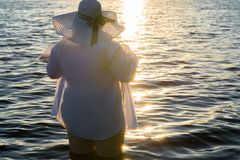 Attractive fashionable fat woman standing in water on sunset Stock Photos