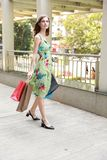 Attractive fashionable shopping girl on the street with colorful shopping bags. Let s go shopping, glamorous fashion lady stock photos