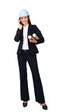 Attractive female architect on phone Royalty Free Stock Images