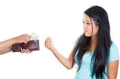 Attractive female asking for money, Stock Images