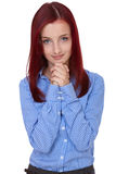 Attractive female beg, ask for something, isolated Stock Image