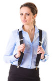 Attractive female in blue shirt and braces Royalty Free Stock Photography