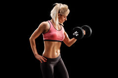 Attractive female bodybuilder lifting a barbell. On black background Stock Image