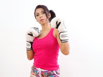 Attractive female boxer with white gloves Stock Images