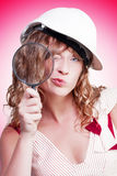 Attractive female building inspector with hardhat Royalty Free Stock Photography