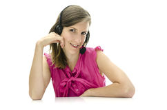 Attractive female call center employee Stock Images