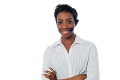 Attractive female call centre executive Stock Photo