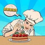 Attractive Female Chef Decorating Delicious Cake with Strawberries. Pop Art Royalty Free Stock Photography