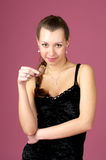 Attractive female with chocolate Royalty Free Stock Photography