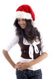 Attractive female in christmas hat. With white background Stock Photos
