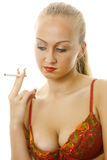 Attractive female with cigarette. Royalty Free Stock Image