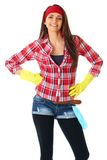 Attractive female cleaner, housewife, isolated Royalty Free Stock Photos