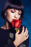 Attractive female with closed eyes Stock Images