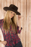 Attractive female cowgirl model wearing felt cowbo Stock Image