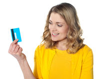 Attractive female with credit card Stock Images