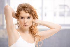 Attractive female in dance studio Royalty Free Stock Image