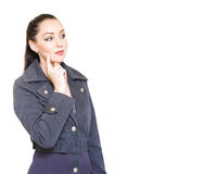 Attractive Female Detective With Clue Copyspace Stock Image