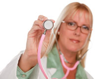 Attractive Female Doctor Holding Stethoscope Stock Images