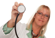 Attractive Female Doctor Holding Stethoscope Royalty Free Stock Photography