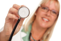 Attractive Female Doctor Holding Stethoscope Royalty Free Stock Images