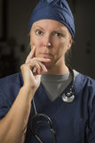 Attractive Female Doctor or Nurse Portrait Stock Photo
