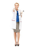 Attractive female doctor pointing her finger Royalty Free Stock Photos
